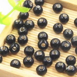 Beads, Porcelain, Black , Round shape, 0.6cm x 0.6cm x 0.5cm, 10 Beads, [TCZ0021]